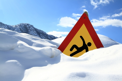 warning sign in snow